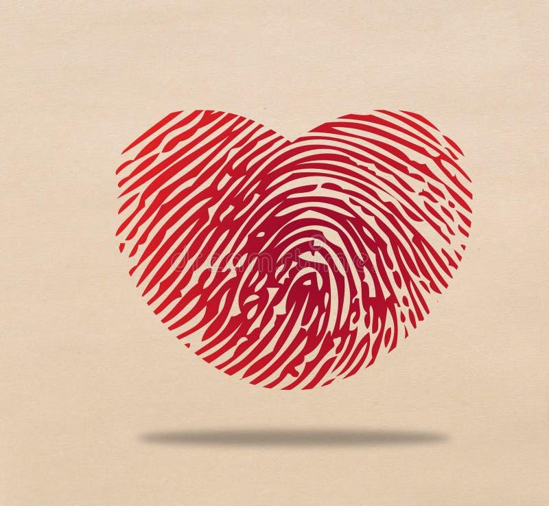 Hjärta identifierar med fingeravtryck stock illustrationer