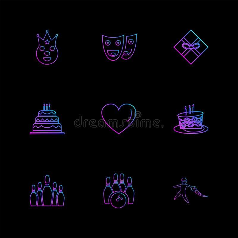 hjärta kaka, maskering, parti, födelsedag, berömmar, annivers stock illustrationer