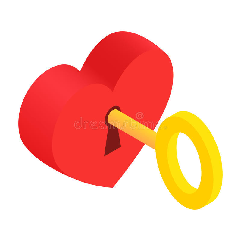 Hjärta-lås och isometrisk symbol 3d för tangent stock illustrationer