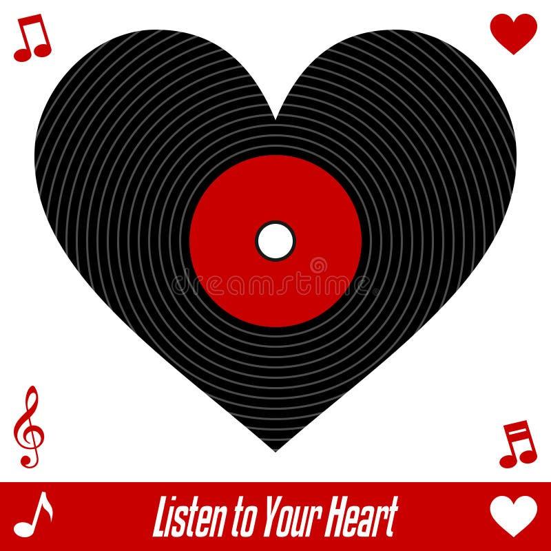 hjärta lyssnar till ditt stock illustrationer