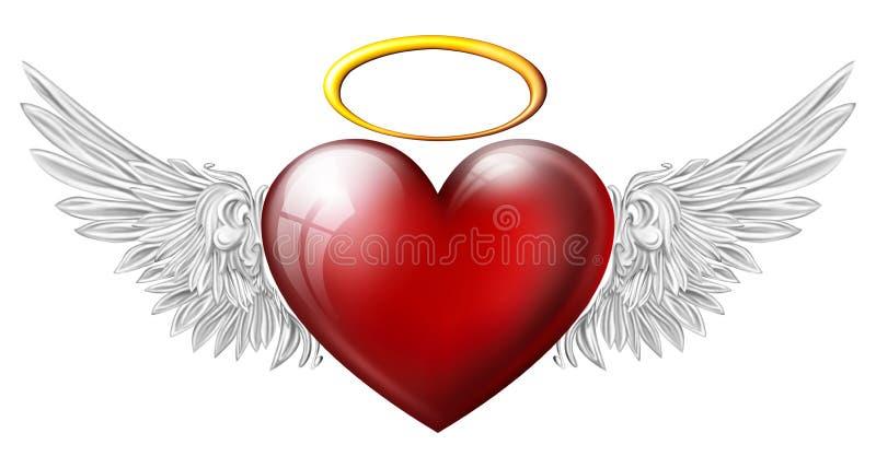 Hjärta med ängelvingar stock illustrationer