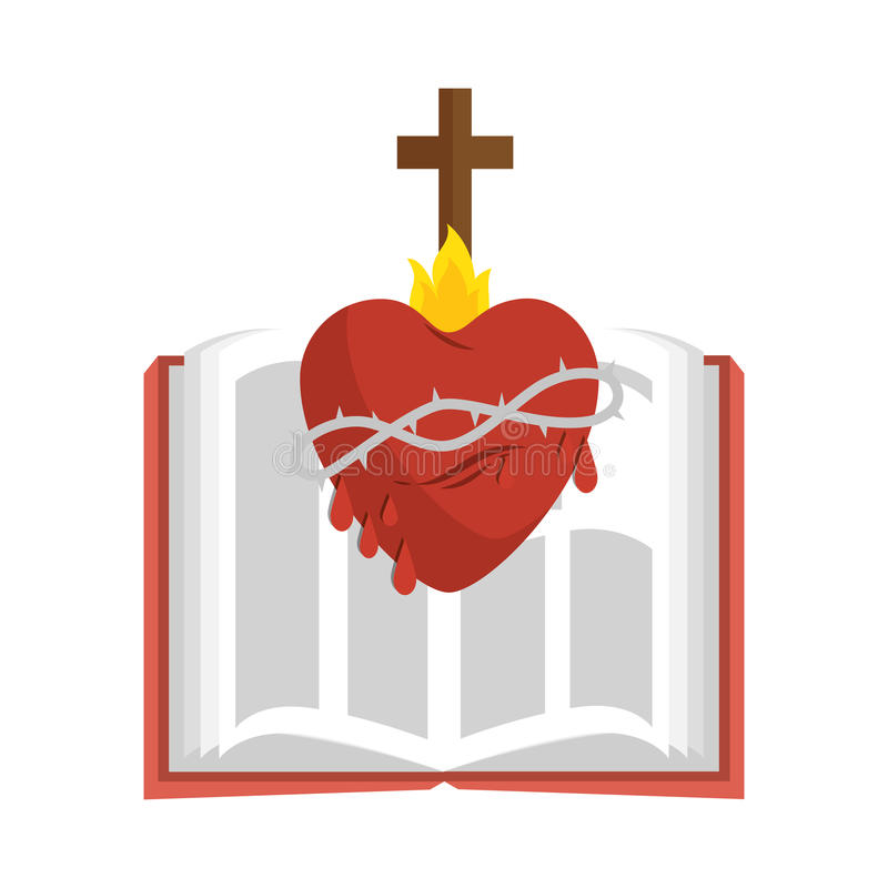 Hjärta med argt religiöst symbol stock illustrationer