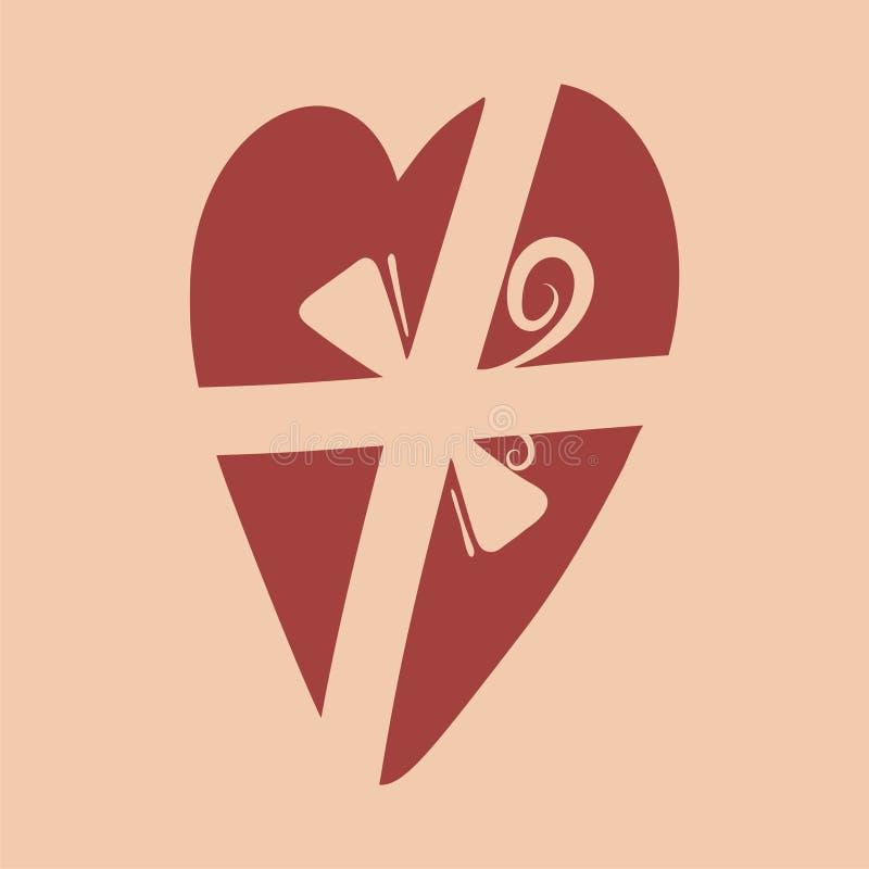 Hjärta med bandet royaltyfri illustrationer