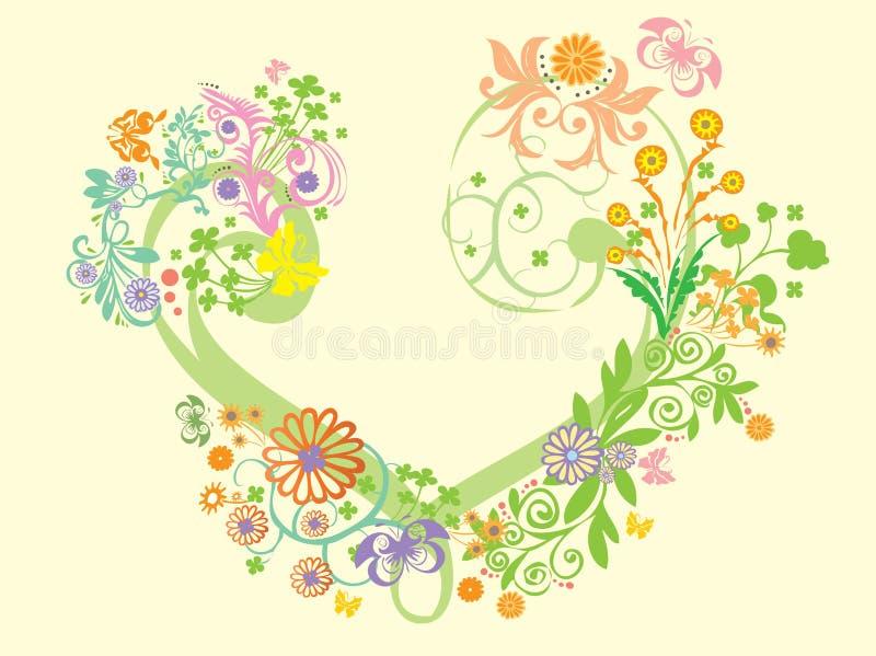 hjärta med blommatapeten vektor illustrationer
