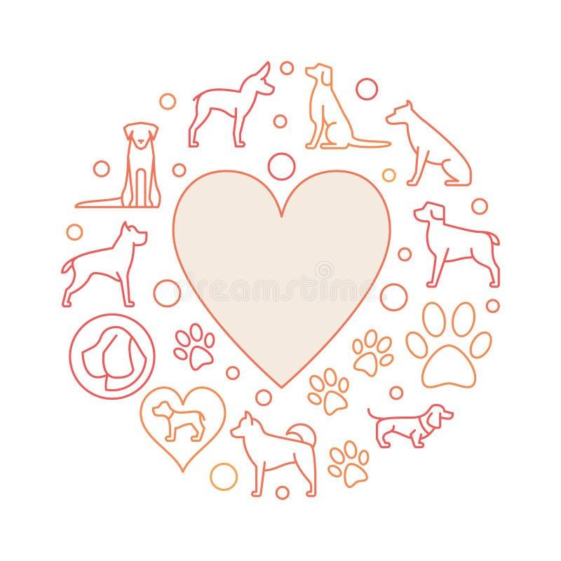 Hjärta med den runda illustrationen för hundsymboler royaltyfri illustrationer