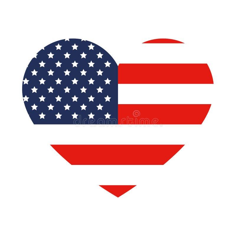 Hjärta med den USA flaggan vektor illustrationer