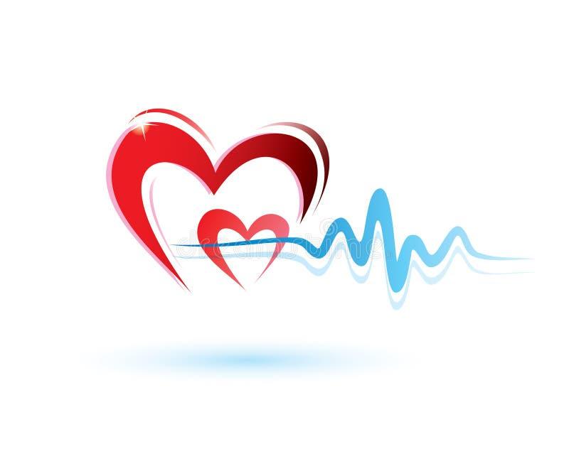 Hjärta med ecgsymbolen stock illustrationer