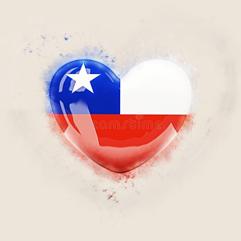 Hjärta med flaggan av chilen stock illustrationer