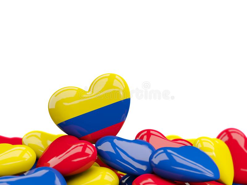 Hjärta med flaggan av Colombia stock illustrationer