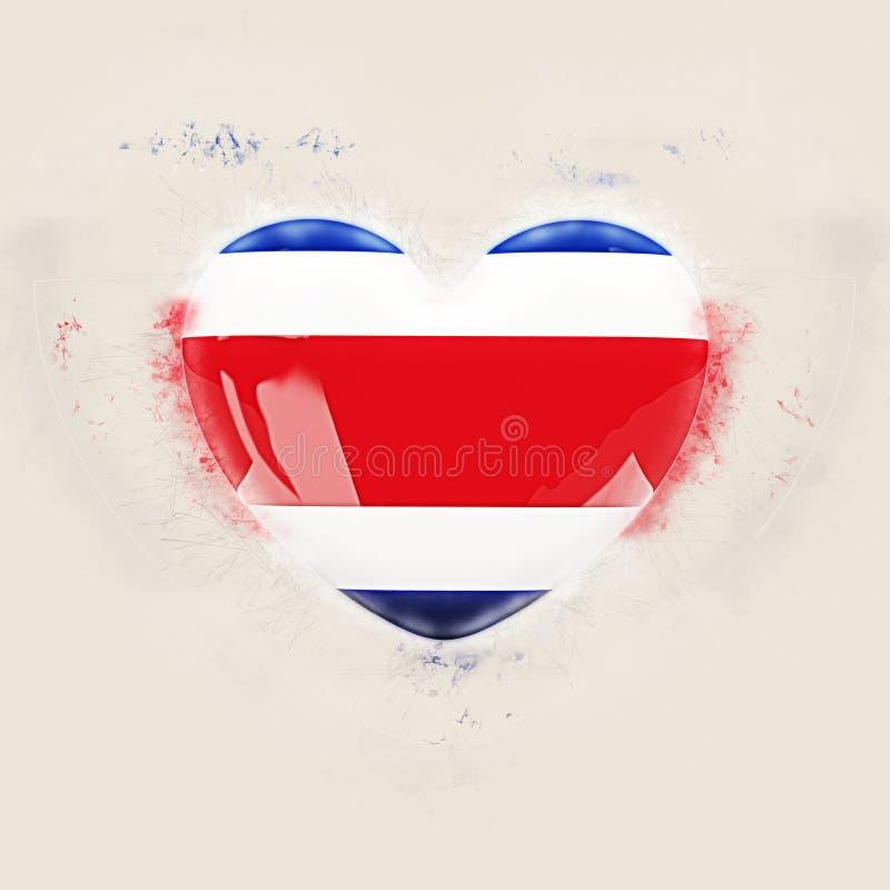 Hjärta med flaggan av Costa Rica vektor illustrationer
