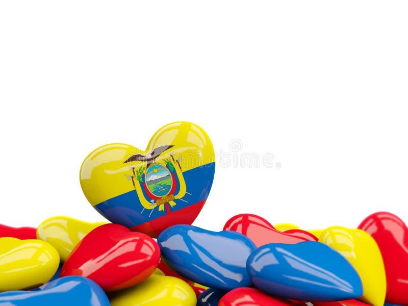 Hjärta med flaggan av Ecuador royaltyfri illustrationer