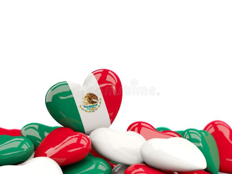 Hjärta med flaggan av Mexiko vektor illustrationer