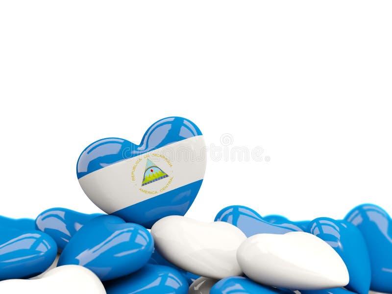 Hjärta med flaggan av Nicaragua stock illustrationer