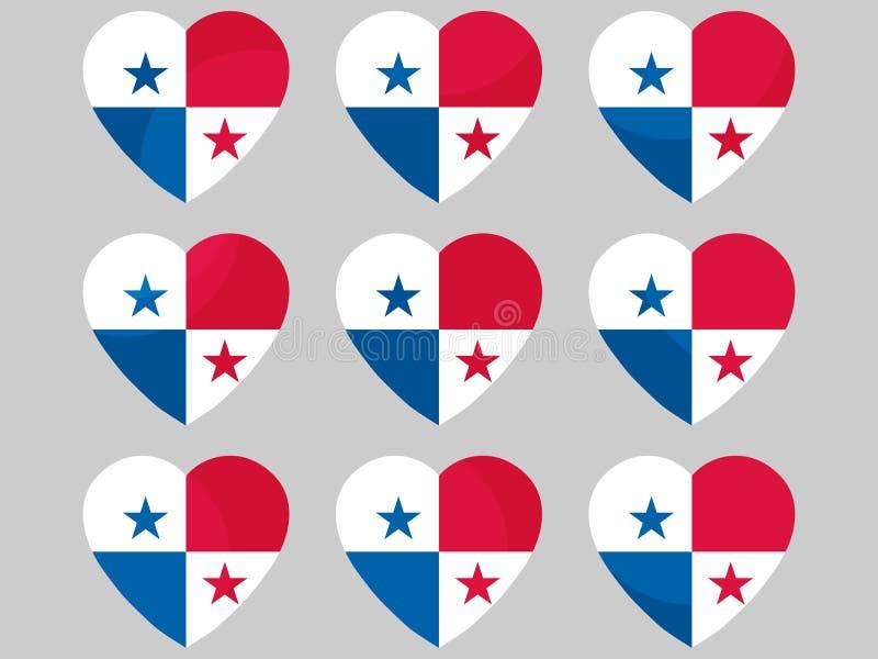 Hjärta med flaggan av Panama Jag älskar Panama vektor vektor illustrationer