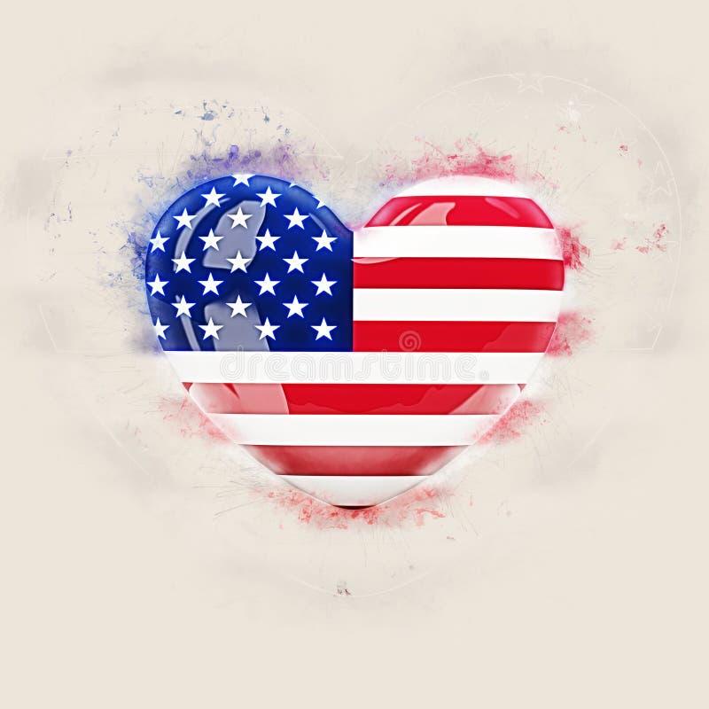 Hjärta med flaggan av USA vektor illustrationer