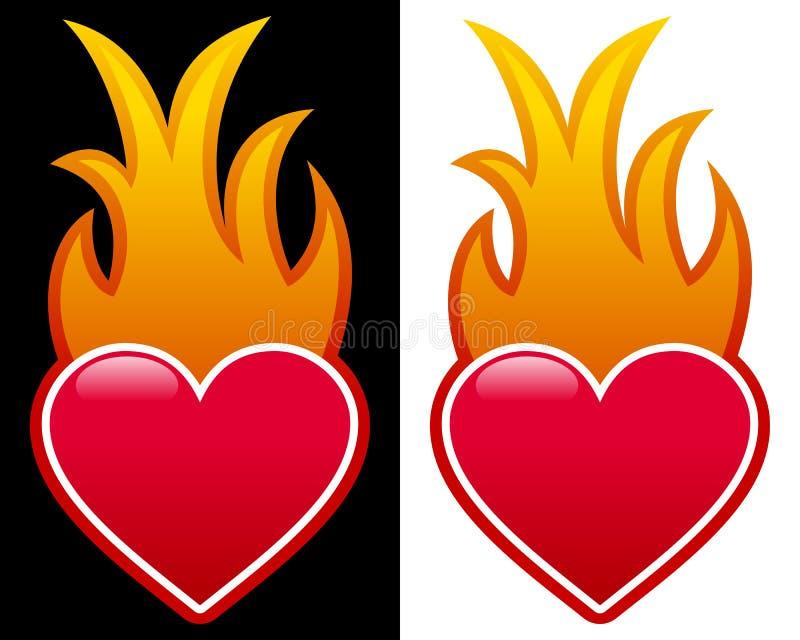 Hjärta med flammor royaltyfri illustrationer