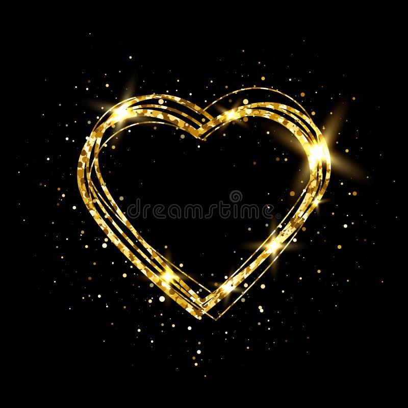 Hjärta med guld- ljus Blänka den guld- hjärtaramen med utrymme för text Lyckligt valentindagkort med glödande hjärta brigham stock illustrationer