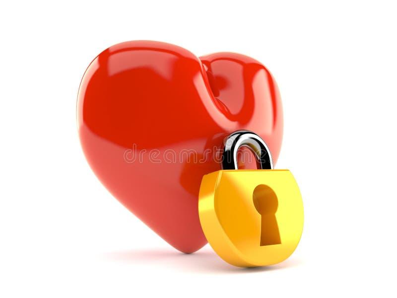 Hjärta med hänglåset vektor illustrationer