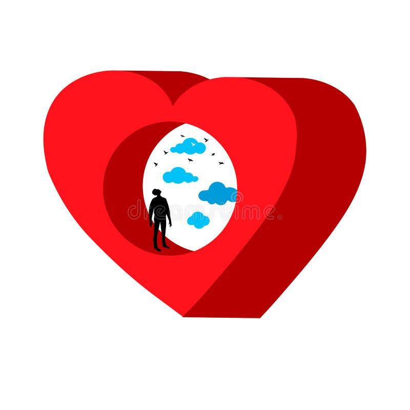 Hjärta med hålet Kontur av en man inom en gisten hjärta mot himlen med moln stock illustrationer