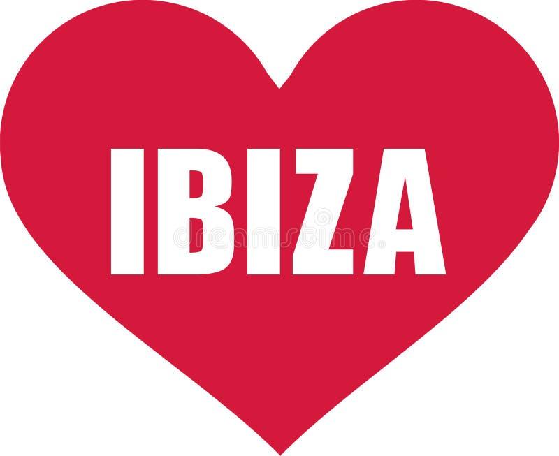 Hjärta med Ibiza royaltyfri illustrationer