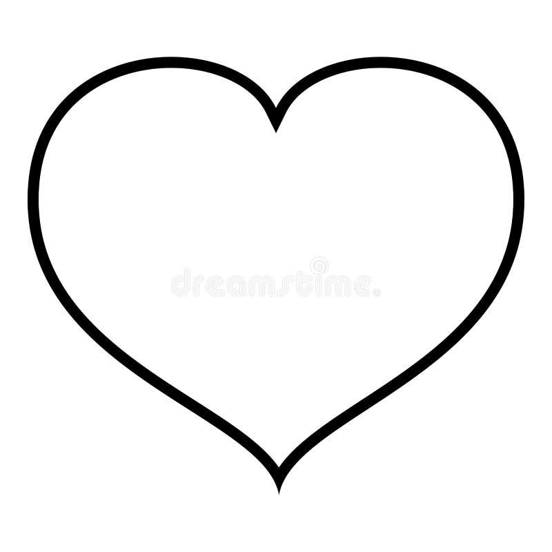 Hjärta med illustrationen för vektor för färg för svart för slutsymbolsöversikt royaltyfri illustrationer