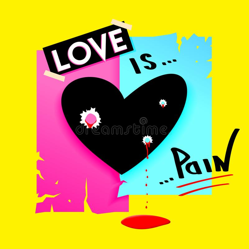 Hjärta med kulhål och stekflottblod modern vektor för design Förälskelse är smärtar begrepp vektor illustrationer