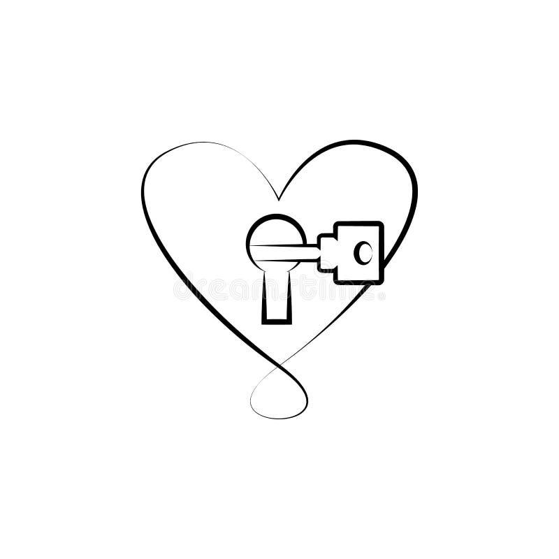 hjärta med låset och tangenten skissar illustrationen Beståndsdel av bröllopsymbolen för mobila begrepps- och rengöringsdukapps S vektor illustrationer