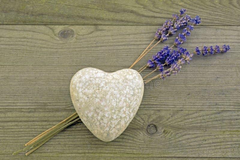 Hjärta med lavendel royaltyfri fotografi