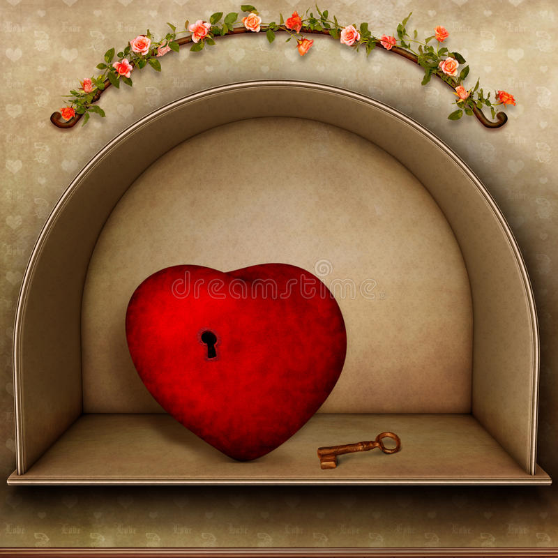Hjärta med nyckel- stock illustrationer