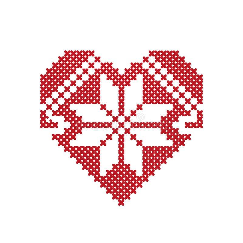 Hjärta med prydnader som göras ut ur korset valentin för dag s royaltyfri illustrationer