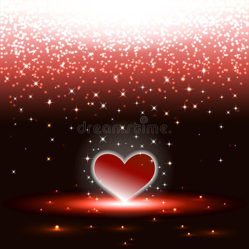 Hjärta med sparkles regnar royaltyfri illustrationer