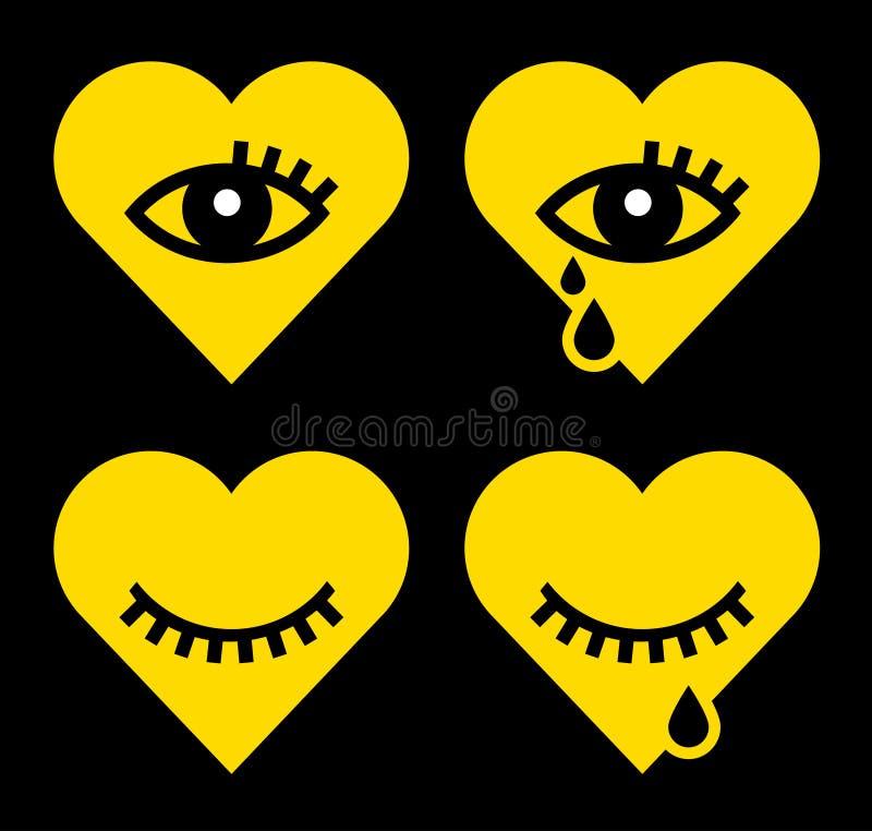 Hjärta med synar vektor illustrationer