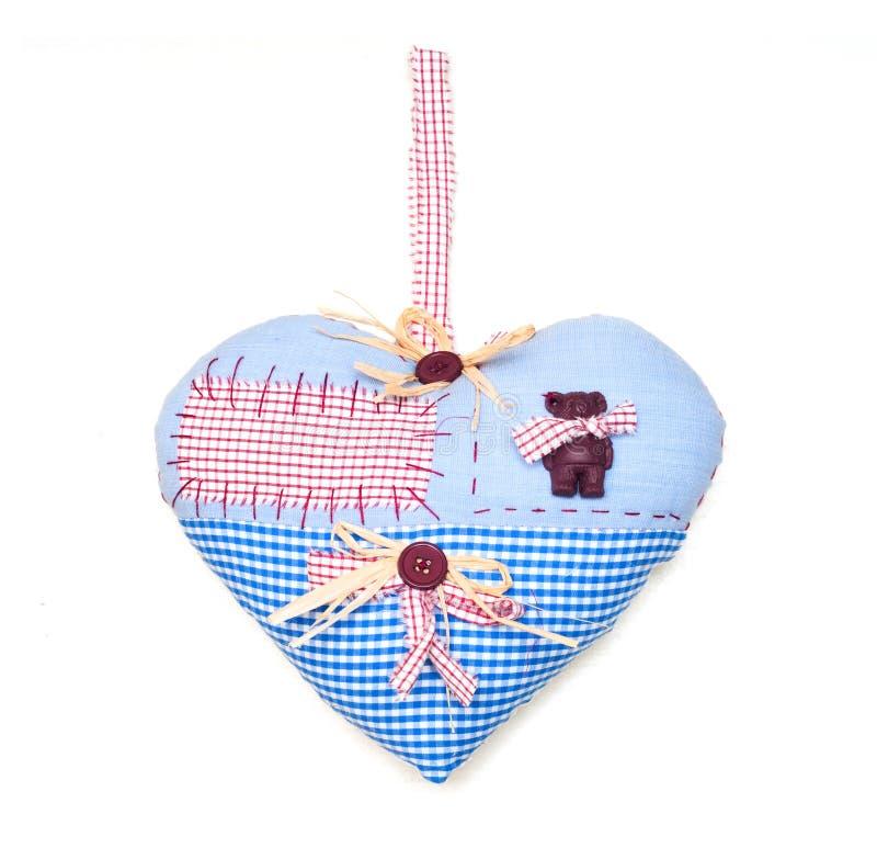 Hjärta med tableclothen texturerar royaltyfri fotografi