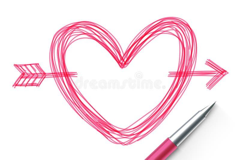 Hjärta med teckningen för pilsymbolhanden vid pennan skissar rosa färgfärg, valentinbegreppsdesign vektor illustrationer