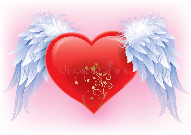 Hjärta med vingar vektor illustrationer