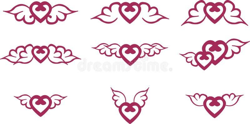 Hjärta med vingar stock illustrationer