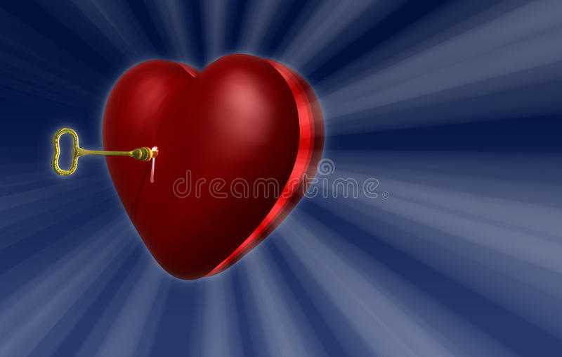 Hjärta nyckel- A1 stock illustrationer