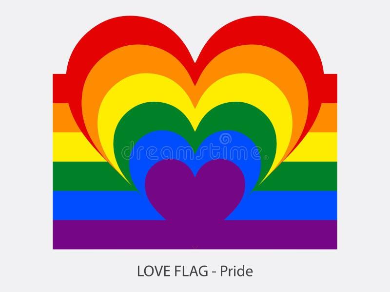 Hjärta och band för förälskelseflaggastolthet royaltyfri illustrationer