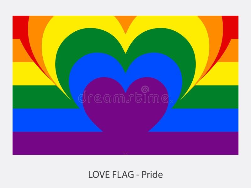Hjärta och band för förälskelseflaggastolthet stänger sig upp vektor illustrationer
