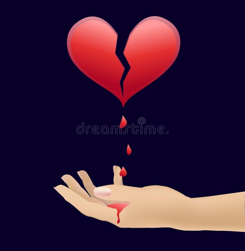 Hjärta och blod i händerna royaltyfria foton