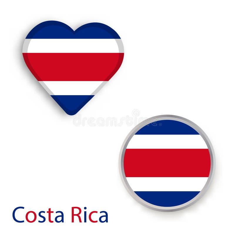 Hjärta- och cirkelsymboler med flaggan av Costa Rica royaltyfri illustrationer