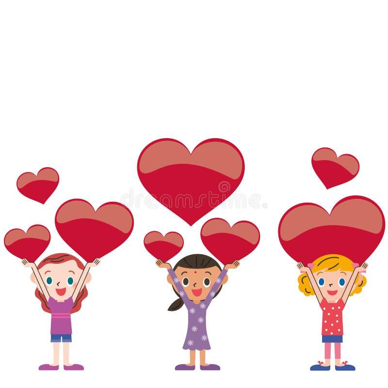 Hjärta och förälder och barn stock illustrationer
