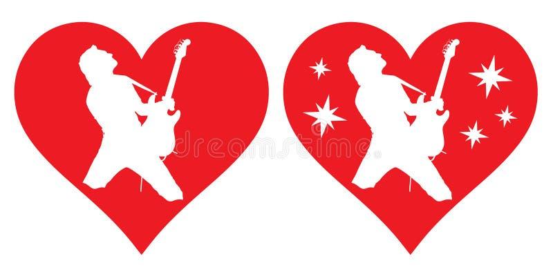 Hjärta och gitarrist som jag älskar för att spela gitarren vektor illustrationer