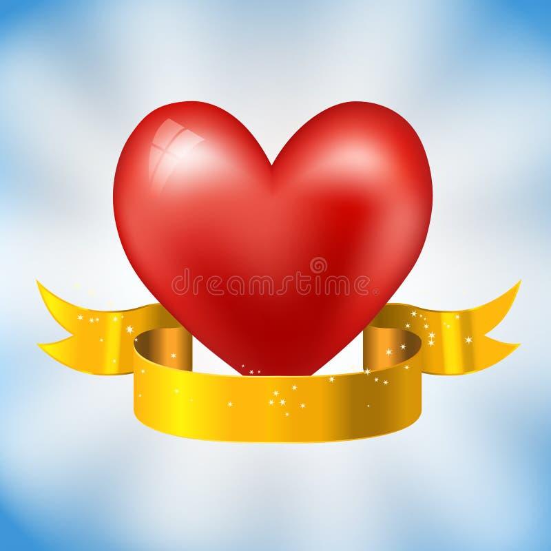Hjärta och guld- band stock illustrationer