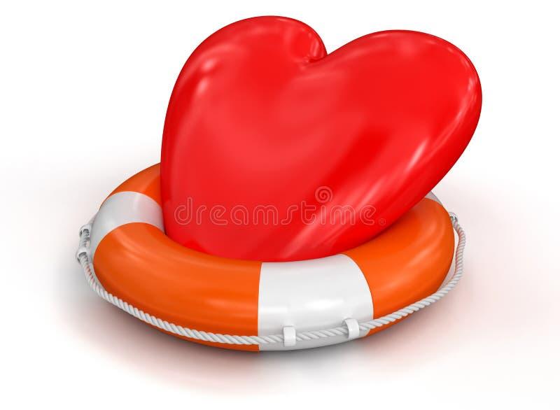 Hjärta och livboj (den inklusive snabba banan) vektor illustrationer