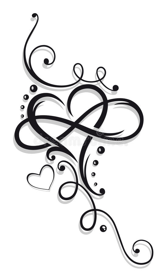 Hjärta och oändlighet vektor illustrationer