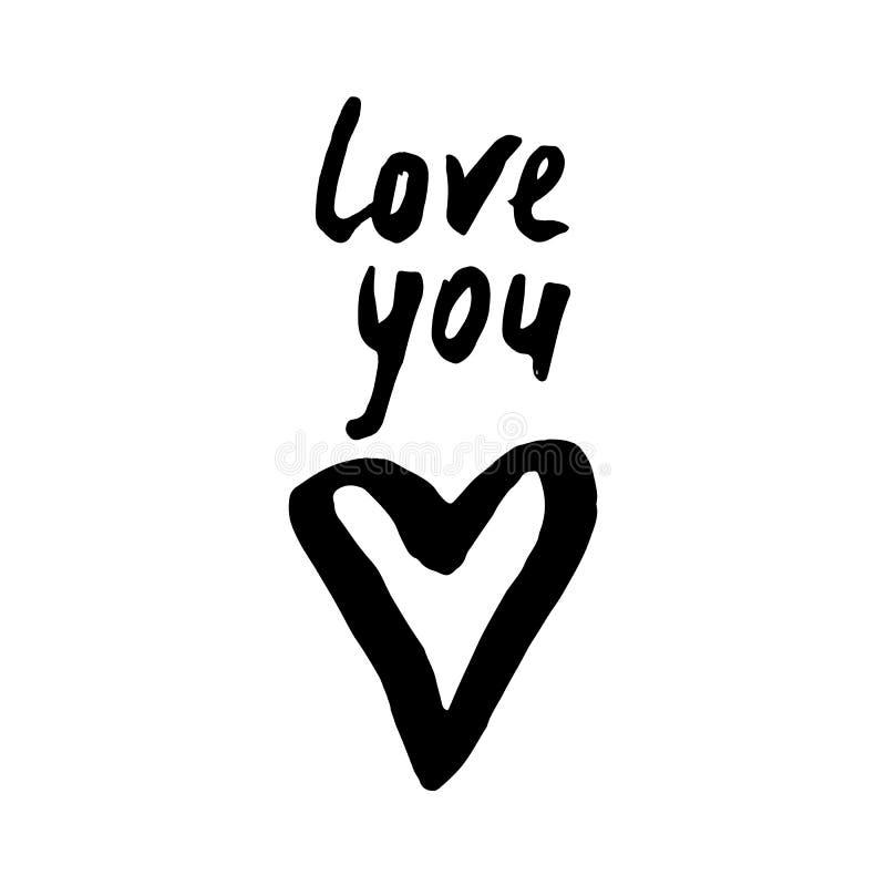 Hjärta och ord för svart hand älskar utdragen dig på vit bakgrund D royaltyfri illustrationer