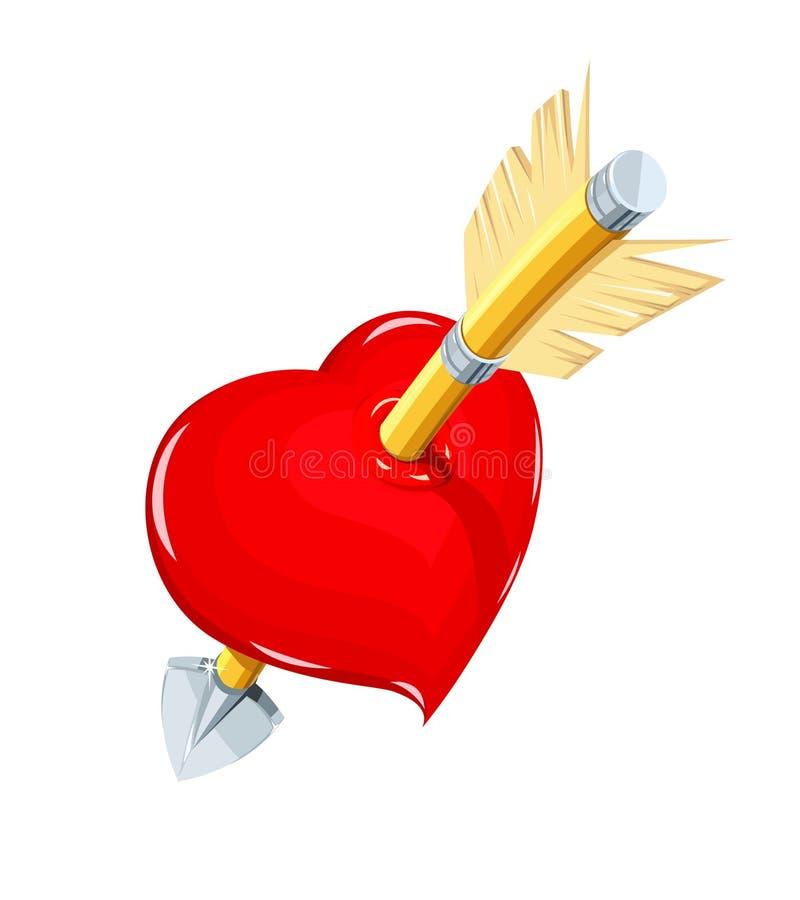 Hjärta och pil Symbolförälskelse för helgonvalentindag royaltyfri illustrationer