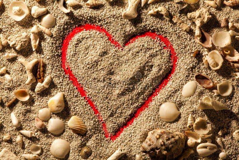 Hjärta och skal Sand med röd bakgrund arkivfoton