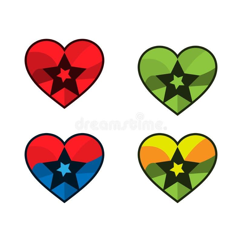 Hjärta- och stjärnasymbol Vektor i CMYK-funktionsläge stock illustrationer